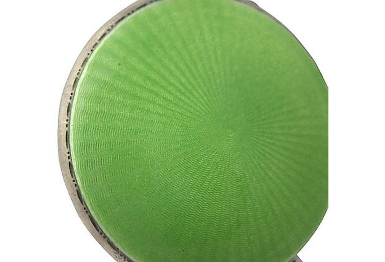 Art Deco Green Enamel English Sterling Silver Compact by Turner & Simpson For Sale 3