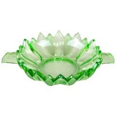 Art Deco Green Glass Bowl, Austria, circa 1930