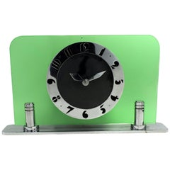 Art Deco Green Glass & Chrome Electric Clock by Smiths, circa 1930