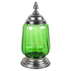 Art Deco Green Glass Jar/ Punch Bowl with Lid, Austria, circa 1920