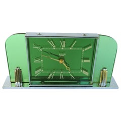 Art Deco Green Glass, Mirror and Chrome Clock by Smiths Clockmakers, circa 1930
