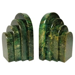 Art Deco Green Marble Bookends