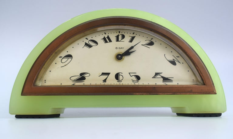 20th Century Art Deco Green Onyx 8 Day Mantle Clock, c1930 For Sale