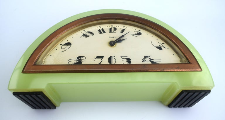 Art Deco Green Onyx 8 Day Mantle Clock, c1930 For Sale 1