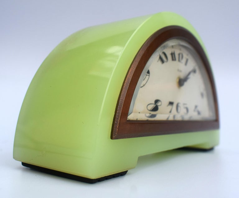 Art Deco Green Onyx 8 Day Mantle Clock, c1930 For Sale 4