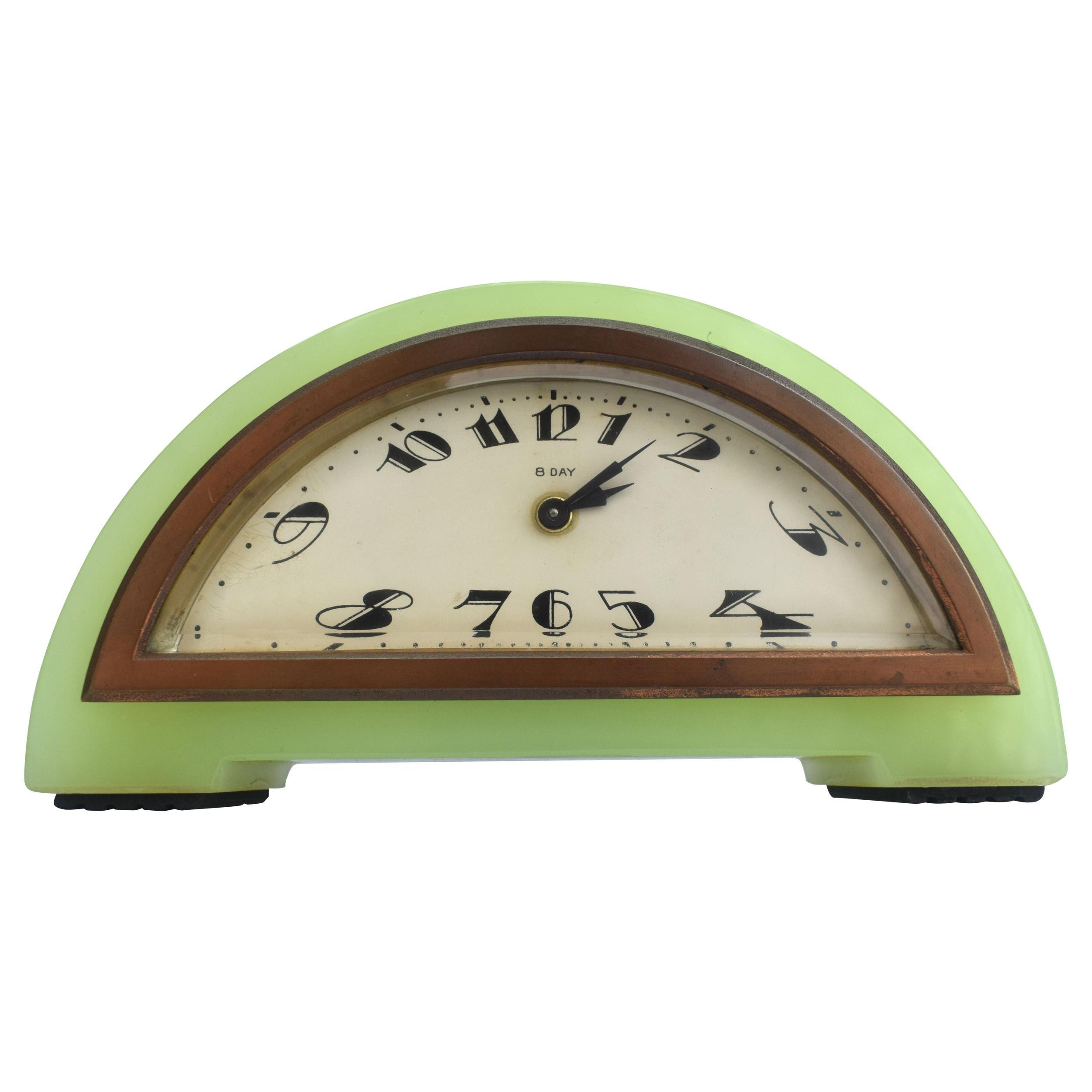 Art Deco Green Onyx 8 Day Mantle Clock, c1930