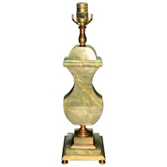 Art Deco Green Onyx and Bronze Lamp
