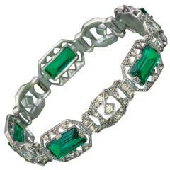 Art Deco Green Paste Stone Sterling Silver circa 1920 Bracelet