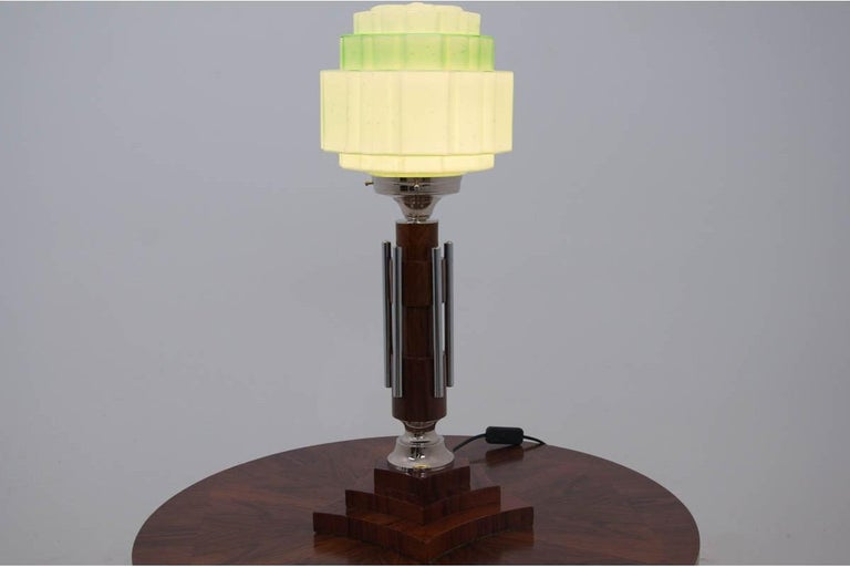 Art Deco style lamp comes from Spain.  The base and wires are new.  European plug. Excellent condition.