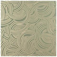 Art Deco Green Tourbillon BP 4808 Farrow and Ball Hand-Printed Wallpaper, UK