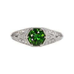 Art Deco Green Tourmaline White Gold Cocktail Ring