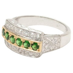 Art Deco Green Tsavorite Diamond Anniversary Band Wide Wedding Ring 2-Tone 3-Row