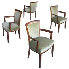 Art Deco Green Velvet Dining Room Chairs by H. Pander & Zonen Netherlands, 1930s