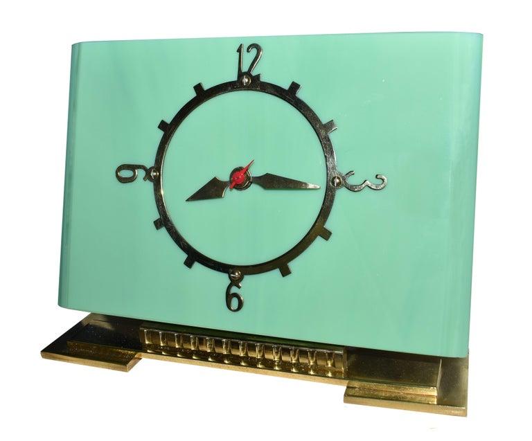 English Art Deco Green Vitrolite Mantle Clock by British Electric Meters Ltd. For Sale