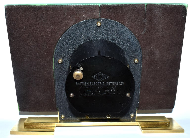 Art Deco Green Vitrolite Mantle Clock by British Electric Meters Ltd. In Good Condition For Sale In Devon, England