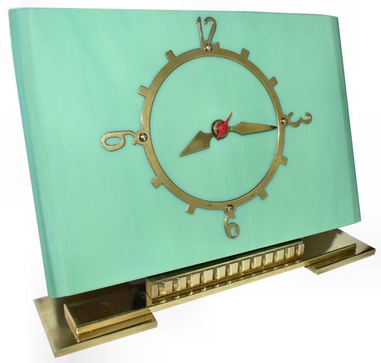 20th Century Art Deco Green Vitrolite Mantle Clock by British Electric Meters Ltd. For Sale