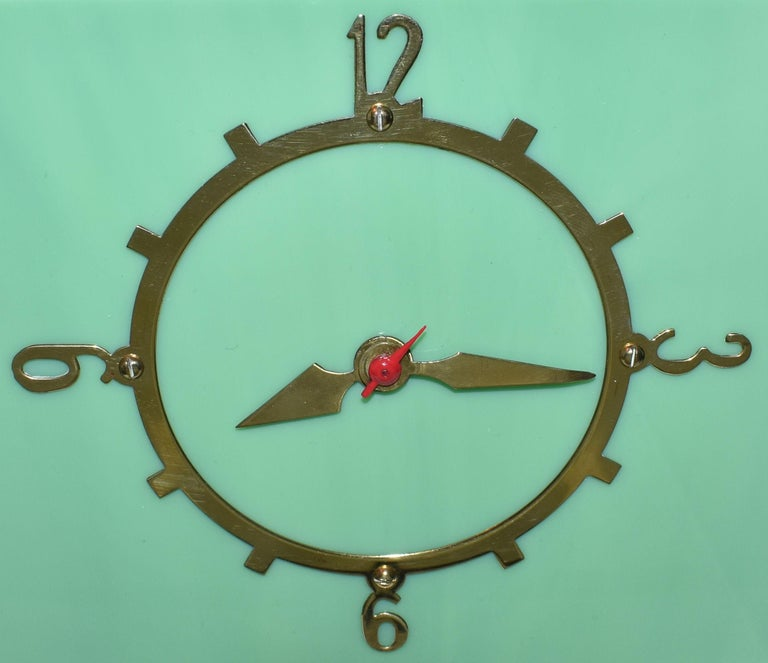 Brass Art Deco Green Vitrolite Mantle Clock by British Electric Meters Ltd. For Sale