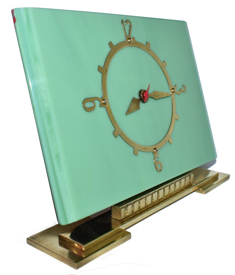 Art Deco Green Vitrolite Mantle Clock by British Electric Meters Ltd. For Sale 1