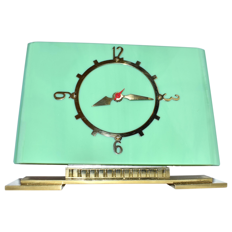 Art Deco Green Vitrolite Mantle Clock by British Electric Meters Ltd.