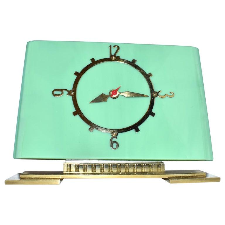 Art Deco Green Vitrolite Mantle Clock by British Electric Meters Ltd. For Sale