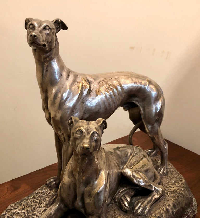 Art Deco Greyhound Dogs Bronze Sculpture by S. Bizard In Good Condition For Sale In Oakland, CA
