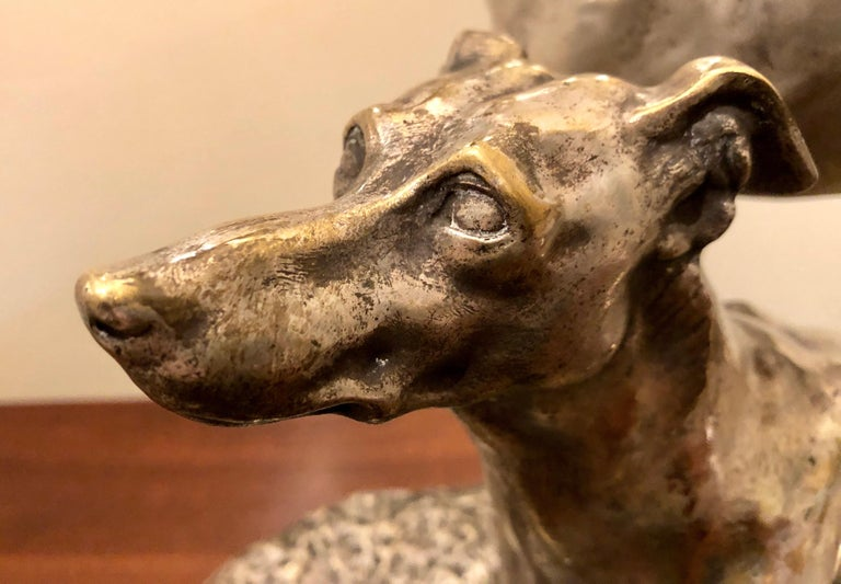 Art Deco Greyhound Dogs Bronze Sculpture by S. Bizard For Sale 1