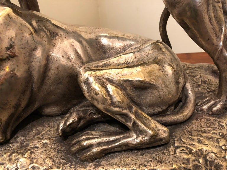 Art Deco Greyhound Dogs Bronze Sculpture by S. Bizard For Sale 2