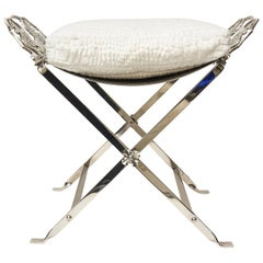 Art Deco Griffin Nickel Silver Bench with Upholstered Cushion