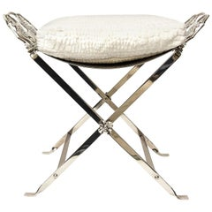 Art Deco Griffin Nickel Silver Bench with Upholstered White Cushion