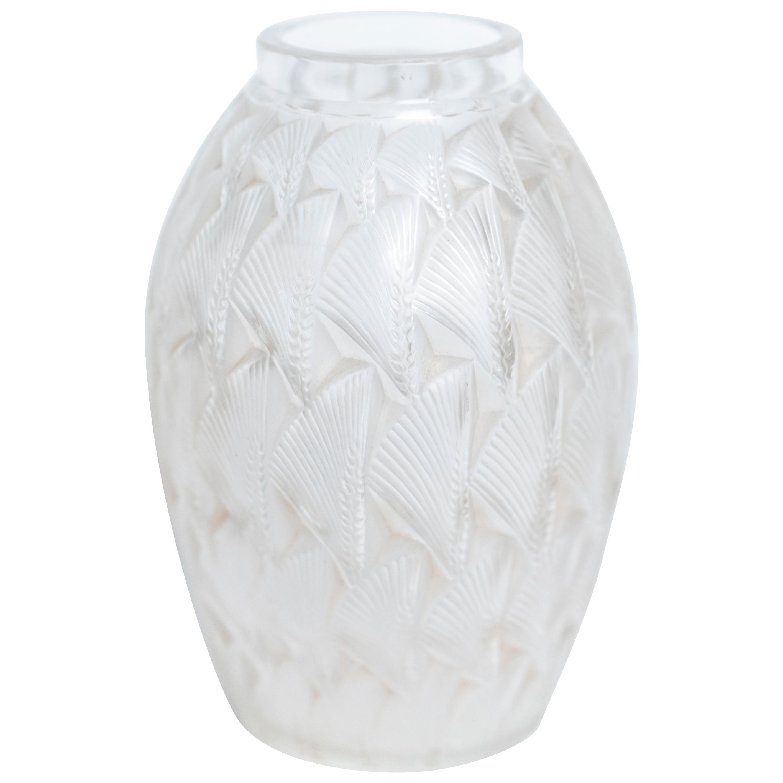 """Art Deco """"Grignon"""" Frosted Glass Vase by René Lalique"""