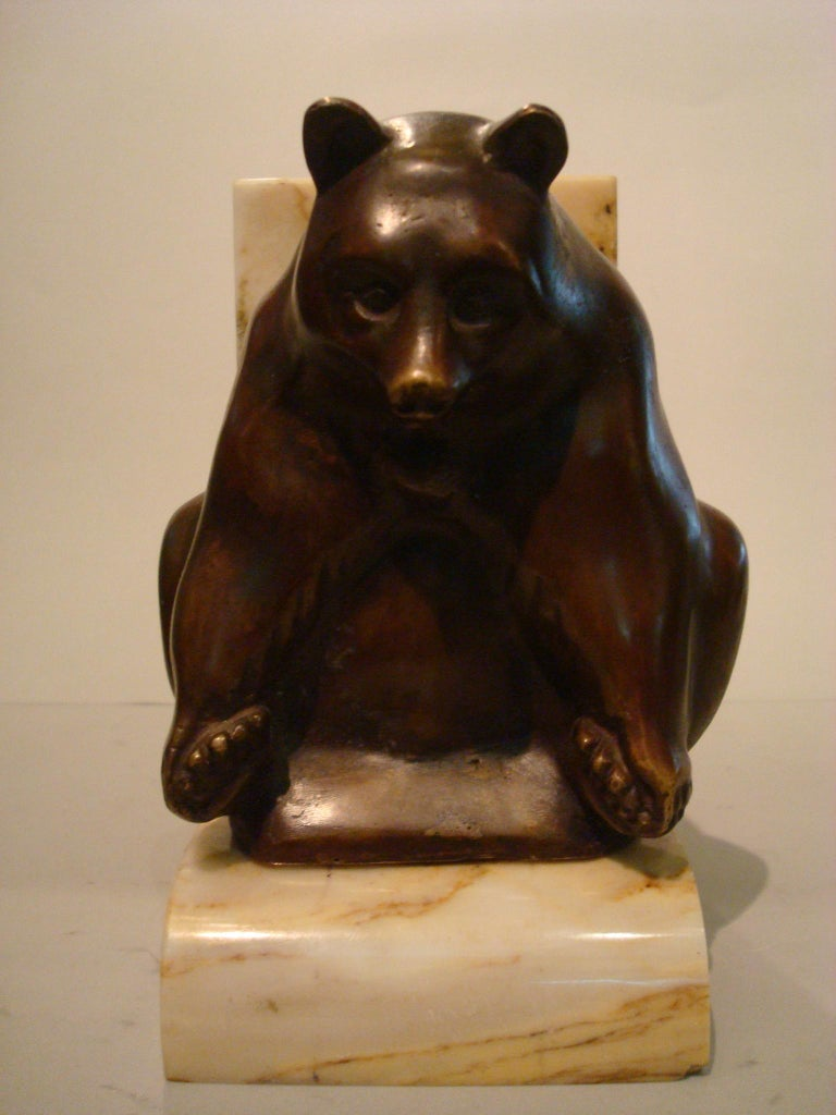 Art Deco Grisby Bear Sculpture Bronze Bookends, France, circa 1925 In Good Condition For Sale In Buenos Aires, Olivos
