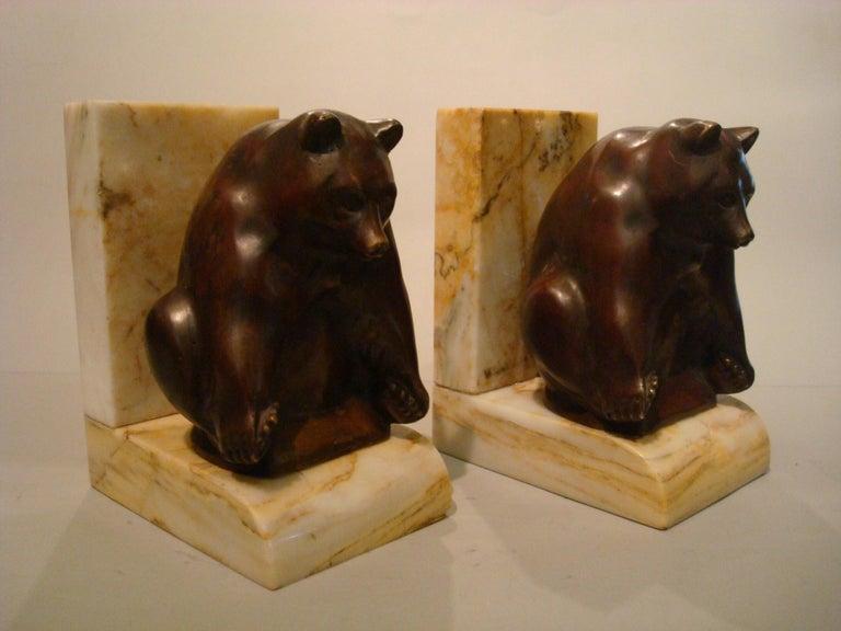 Art Deco Grisby Bear Sculpture Bronze Bookends, France, circa 1925 For Sale 1