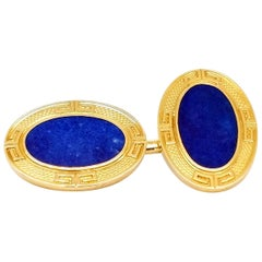 Art Deco Grogan & Co. Lapis and 14 Karat Gold Cufflinks