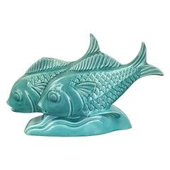 Art Deco Group of Fish in Ceramic Craquelé, France