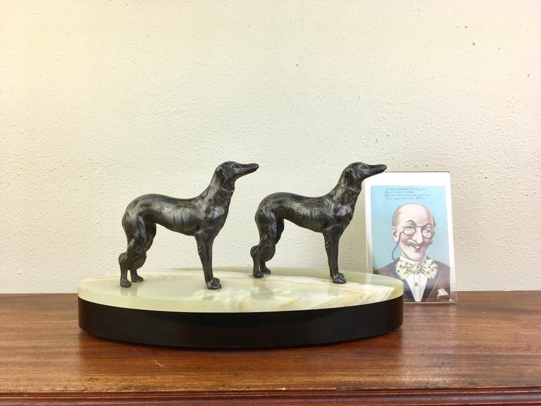 Art Deco Group of Greyhounds on Marble Base For Sale 5
