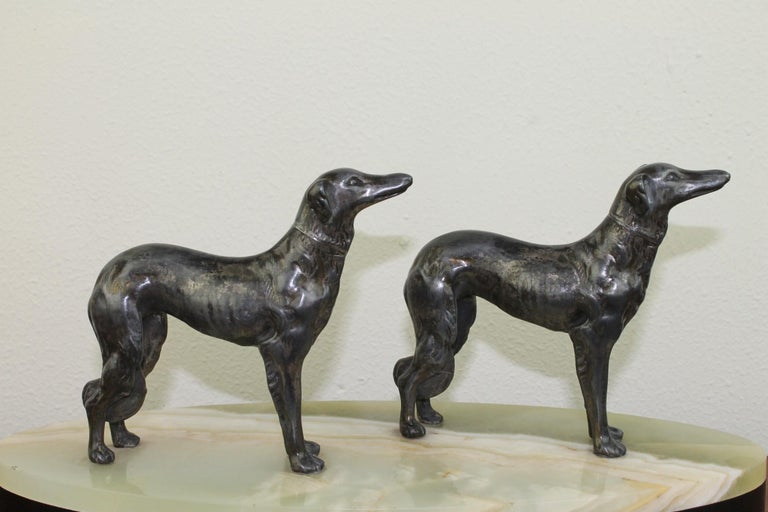 Art Deco Group of Greyhounds on Marble Base For Sale 9