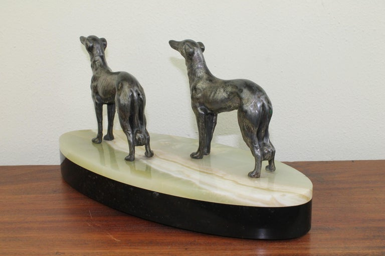 Art Deco Group of Greyhounds on Marble Base For Sale 10