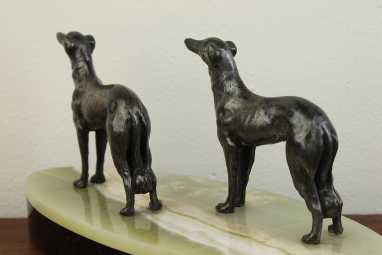 Art Deco Group of Greyhounds on Marble Base For Sale 11