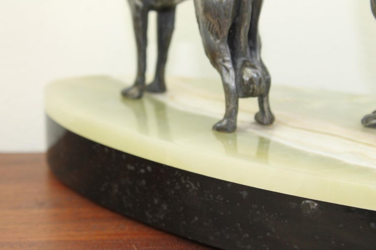Art Deco Group of Greyhounds on Marble Base For Sale 12