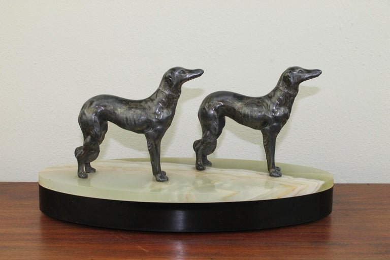 Art Deco Group of Greyhounds on Marble Base For Sale 14