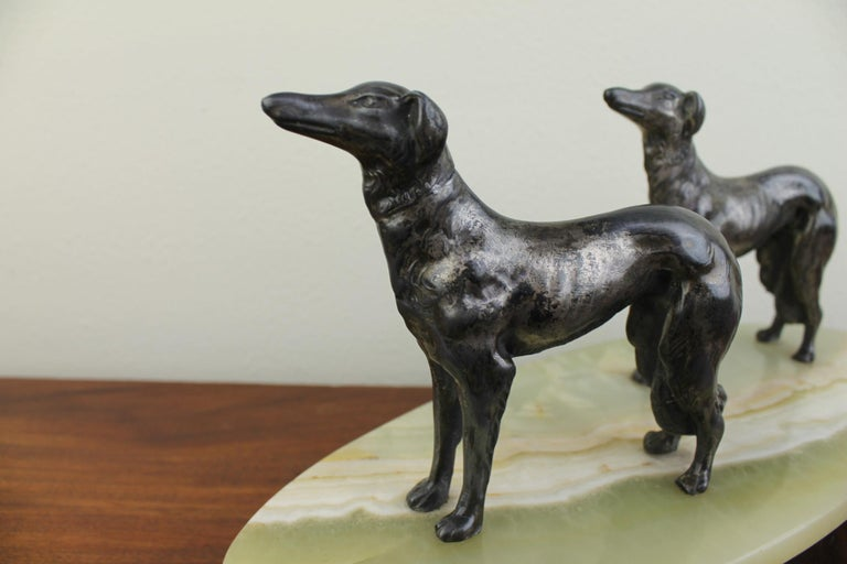 French Art Deco Group of Greyhounds on Marble Base For Sale