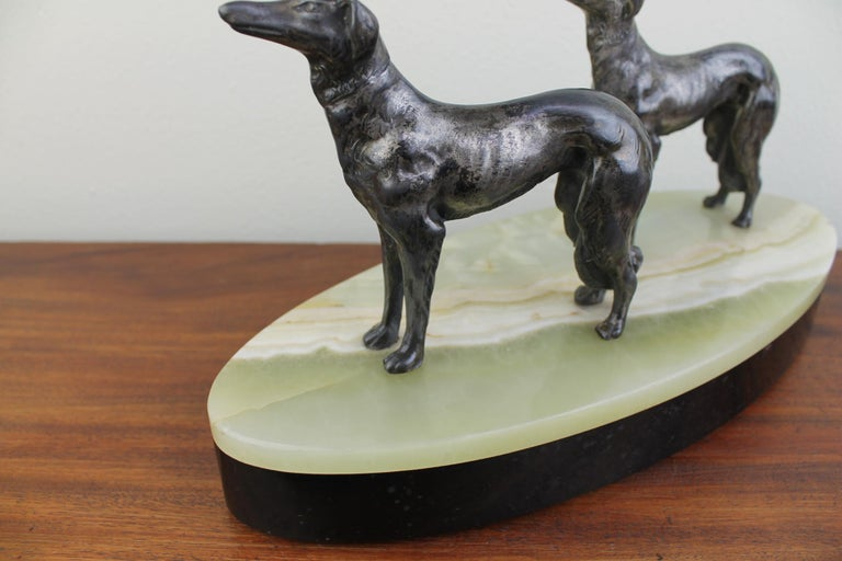 20th Century Art Deco Group of Greyhounds on Marble Base For Sale