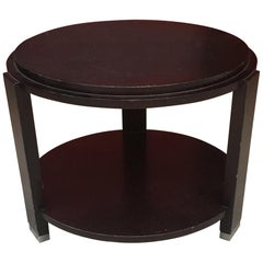Art Deco Gueridon in Stained Oak circa 1930-1940, Hooves in Chromed Metal