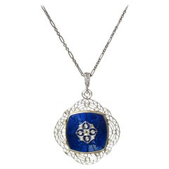 Art Deco Guilloche Enamel Diamond Platinum and Gold Locket Pendant, circa 1930