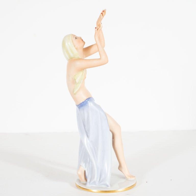 Mid-20th Century Art Deco Gustav Oppel for Rosenthal Hand Painted Porcelain Dancer Statuette For Sale