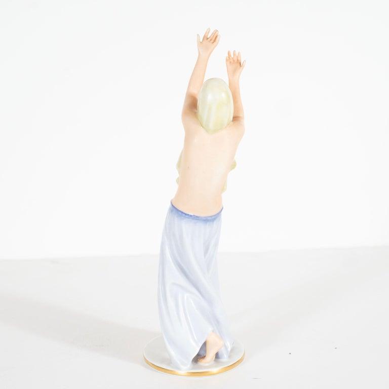 Art Deco Gustav Oppel for Rosenthal Hand Painted Porcelain Dancer Statuette For Sale 1