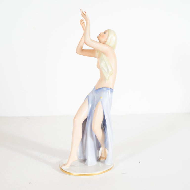 Art Deco Gustav Oppel for Rosenthal Hand Painted Porcelain Dancer Statuette For Sale 2