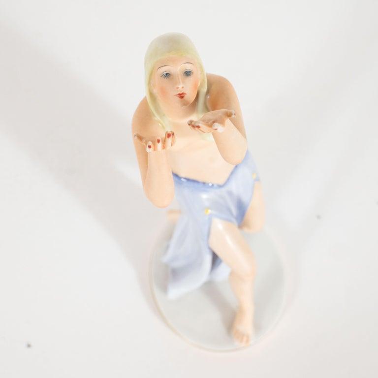 Art Deco Gustav Oppel for Rosenthal Hand Painted Porcelain Dancer Statuette For Sale 3
