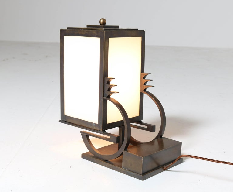 Art Deco Haagse School Bronze Table Lamp by C. J. Gellings, 1920s In Good Condition For Sale In Amsterdam, NL