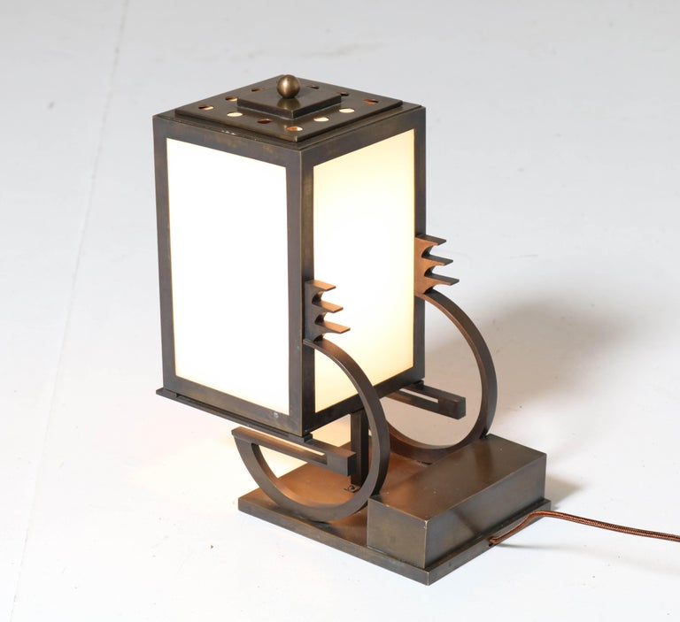 Early 20th Century Art Deco Haagse School Bronze Table Lamp by C. J. Gellings, 1920s For Sale